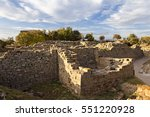 city walls in the ruins of troy ... | Shutterstock . vector #551220928