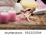 spa composition on wooden... | Shutterstock . vector #551221534