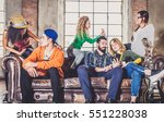 mixed race group of teenagers... | Shutterstock . vector #551228038