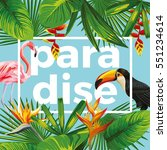 trendy slogan paradise in the... | Shutterstock .eps vector #551234614