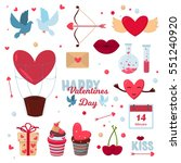 valentine day 14 february icons ... | Shutterstock .eps vector #551240920