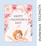 valentines day card with roses... | Shutterstock .eps vector #551244274