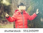 little boy experiencing virtual ... | Shutterstock . vector #551245099