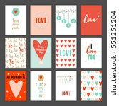 valentines day set cards.... | Shutterstock .eps vector #551251204