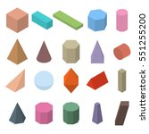 set of 3d geometric shapes.... | Shutterstock .eps vector #551255200