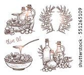 olive oil sketch set. four... | Shutterstock .eps vector #551265109