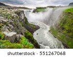 beautiful dettifoss waterfall... | Shutterstock . vector #551267068