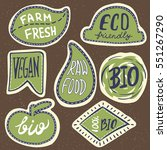 retro set of 100  bio  farm... | Shutterstock .eps vector #551267290