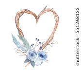 Watercolor Heart With Flowers ...