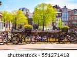 bikes on the bridge in ...   Shutterstock . vector #551271418