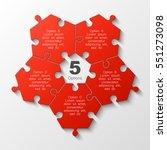 puzzle five piece business... | Shutterstock .eps vector #551273098