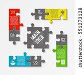 puzzle four piece business... | Shutterstock .eps vector #551273128