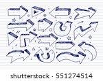 doodle blue pen sketch arrows... | Shutterstock .eps vector #551274514