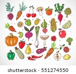 colored doodle fruits and... | Shutterstock .eps vector #551274550