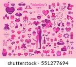 valentine s day icon set.... | Shutterstock .eps vector #551277694