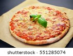 Pizza With Cheeses And Basil O...