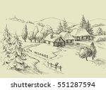small village idyllic landscape.... | Shutterstock .eps vector #551287594