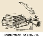 stack of books  paper  pencil ... | Shutterstock .eps vector #551287846