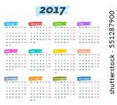 calendar 2017 weeks start from... | Shutterstock .eps vector #551287900