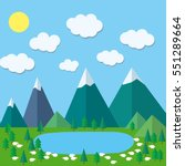 colorful flat summer mountains... | Shutterstock .eps vector #551289664