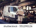 messenger delivering parcel ... | Shutterstock . vector #551290126