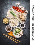 various asian vegetarian... | Shutterstock . vector #551299423