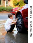 young girl washing the wheel of ... | Shutterstock . vector #5513008