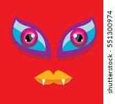 vector red funny monster face.... | Shutterstock .eps vector #551300974