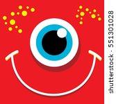 vector red funny monster face.... | Shutterstock .eps vector #551301028