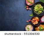 thai food background. dishes of ... | Shutterstock . vector #551306530