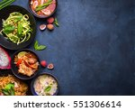 thai food background. dishes of ... | Shutterstock . vector #551306614