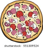 pizza with olive  cheese ... | Shutterstock .eps vector #551309524
