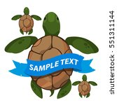 sea turtles with ribbon banner. ... | Shutterstock .eps vector #551311144