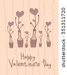 cute vase with hearts flowers.... | Shutterstock .eps vector #551311720