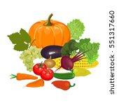 set of fresh vegetables and...   Shutterstock .eps vector #551317660