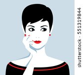 vector portrait of beautiful... | Shutterstock .eps vector #551319844