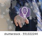 businessman presses the button... | Shutterstock . vector #551322244