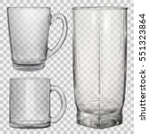 two transparent glass cups and... | Shutterstock .eps vector #551323864