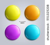 set of blank  colorful glossy... | Shutterstock .eps vector #551325208