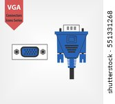 Vga Plug And Connector. Blue...