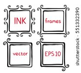 hand painted ink frames set.... | Shutterstock .eps vector #551332390