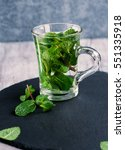 Fresh Organic Mint Tea In Glas...