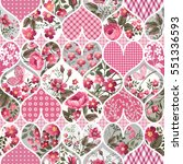 seamless floral patchwork... | Shutterstock .eps vector #551336593