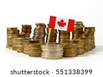 canada flag waving with stack... | Shutterstock . vector #551338399