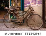 Small photo of PRAGUE, CZECH REPUBLIC - MAY 2, 2016: Vintage bycicle near absent museum in Prague, Czech Republic.