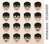 set of cute thief emoticons.... | Shutterstock .eps vector #551344309