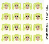 set of cute blonde girl... | Shutterstock .eps vector #551344363