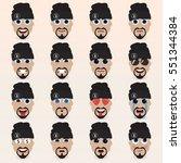 set of cute man in a hat... | Shutterstock .eps vector #551344384