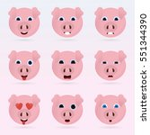 set of cute pig emoticons.... | Shutterstock .eps vector #551344390