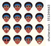 set of cute african american... | Shutterstock .eps vector #551344663
